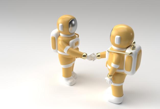 3d render astronauta mão shake gesto ilustração 3d design.