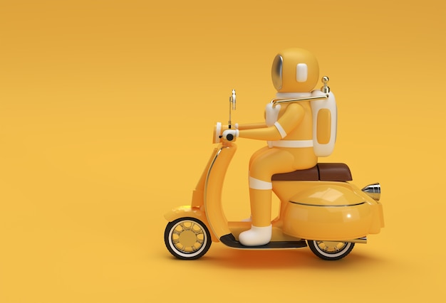 3d render astronauta riding motor scooter side view on a yellow background.