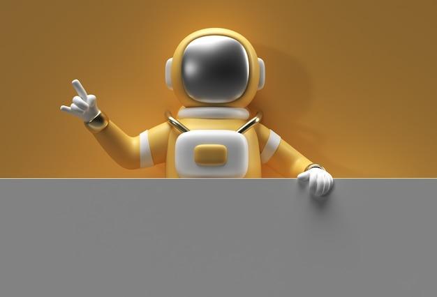 3d render astronauta segurando uma bandeira branca sobre um fundo amarelo.