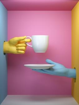 3d render, azul amarelo mãos segurando xícara branca e pires, partes do corpo feminino manequim dentro da caixa, fundo mínimo de moda, ajudando o conceito de mãos
