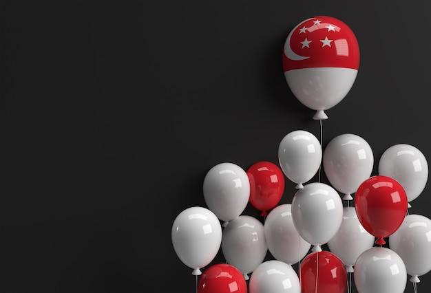 3d render balão da bandeira de singapura do 9º dia da independência de cingapura. Foto Premium