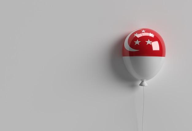 3d render balão da bandeira de singapura do 9º dia da independência de cingapura.