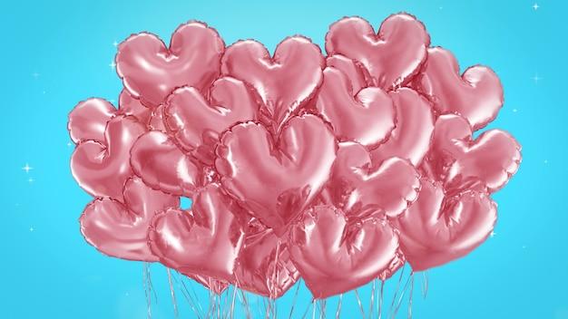 3d render balões em forma de coração rosa sobre fundo azul