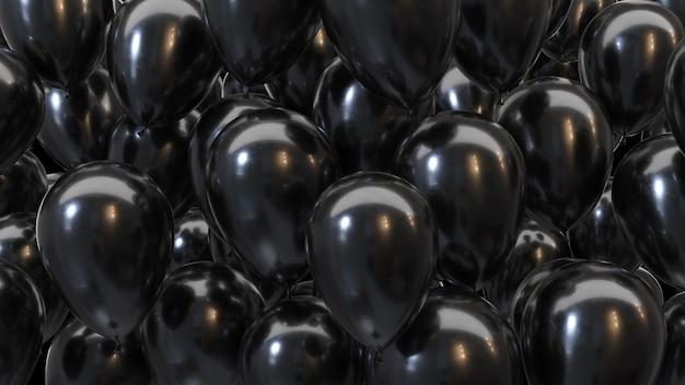3d render balões pretos em um fundo preto em 4k