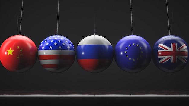 3d render bandeiras da china, rússia, eua, união europeia e reino unido nas bolas de berço de newton