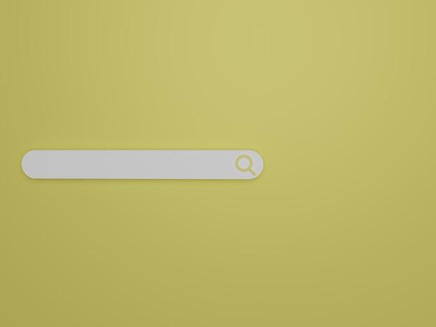 3d render barra de pesquisa minimalista em fundo amarelo