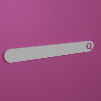 3d render barra de pesquisa minimalista em fundo rosa