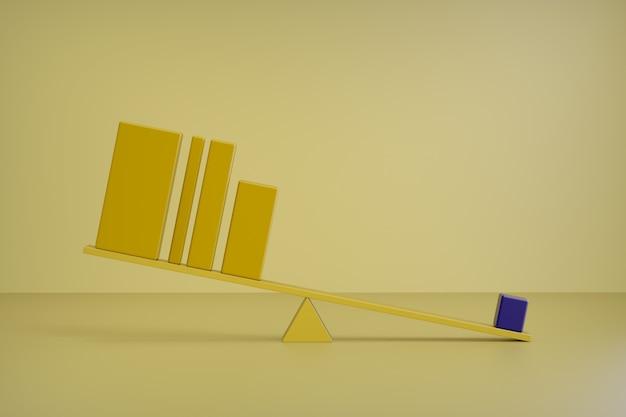 3d render barras amarelas. equilíbrio, conceito. gráfico de barras, conceito de negócio de equilíbrio