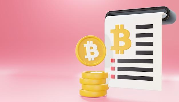 3d render bitcoin bill