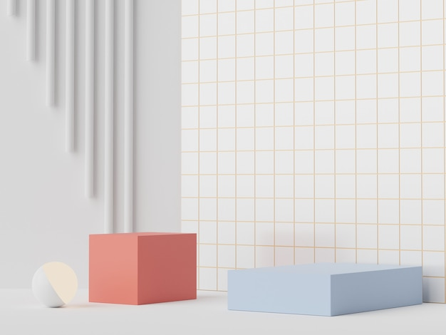 3d render branco, vermelho e azul mínimo pódio para simulação e exibição de produtos