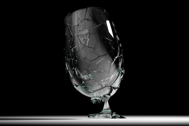 3d render broken glass vidro de vinho realista mock up, ilustração 3d design gráfico.