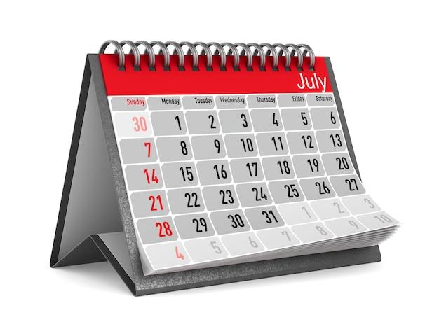 3d render calendário de julho isolado no fundo branco