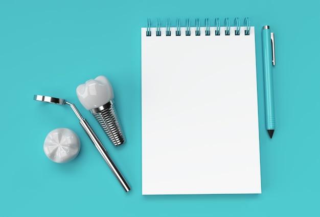 3d render caneta e bloco de notas com cirurgia de implantes dentários no fundo azul pastel.