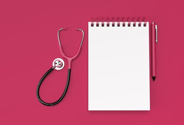3d render caneta e bloco de notas com médico estetoscópio no fundo rosa pastel.