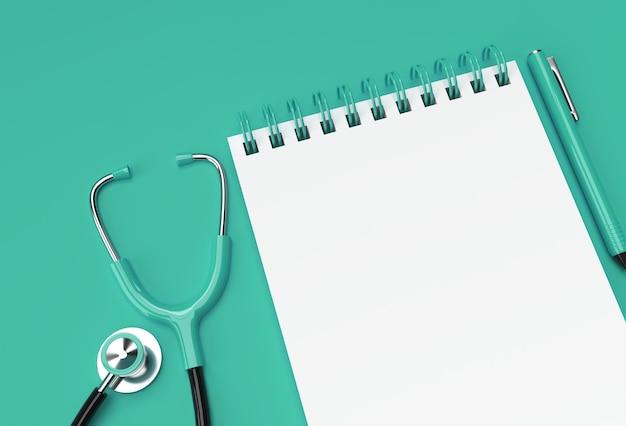 3d render caneta e bloco de notas com médico estetoscópio no fundo verde pastel.