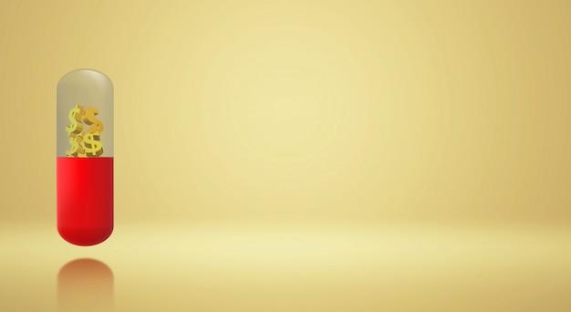 3d render cápsula ouro dólar para conteúdo de saúde