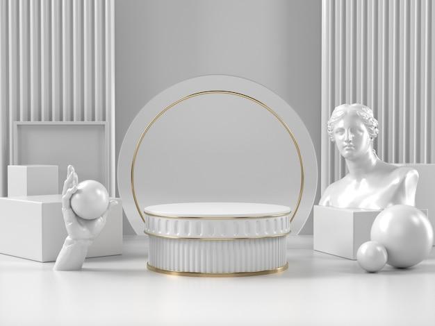 3d render carrinho de pódio branco e elemento romano clássico