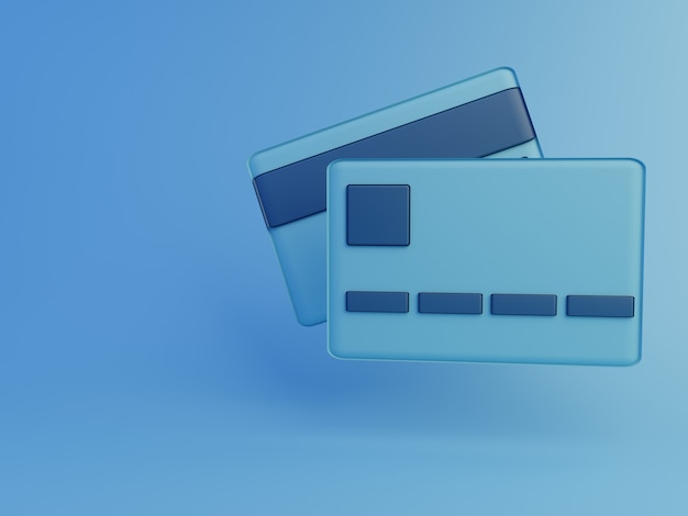 3d render cartão de crédito azul com fundo azul