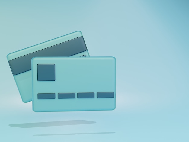 3d render cartão de crédito simples com fundo verde