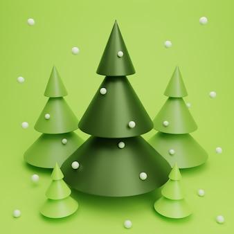 3d render cena da árvore de natal com neve