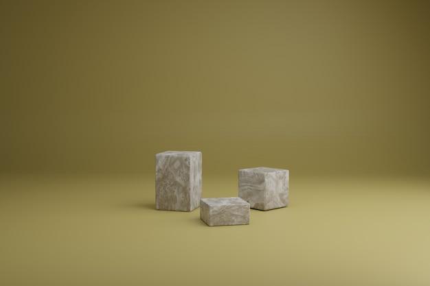 3d render cena mínima abstrata com formas de cubos de madeira marrom em um fundo amarelo. vitrine em branco