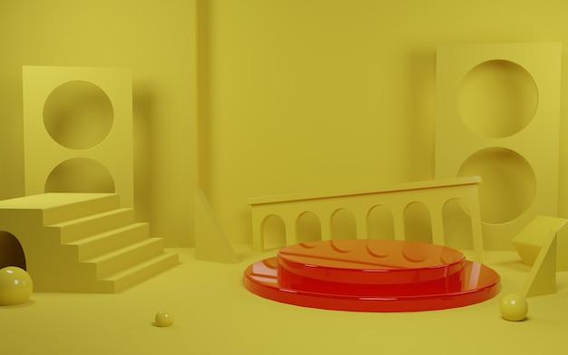 3d render cena vermelha do pódio para promoção do produto em fundo amarelo