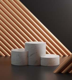 3d render cenas de pódio de mármore e alumínio dourado em fundo preto. 3 cilindros, maquete minimalista de luxo.