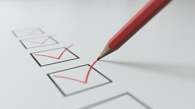 3d render checklist um lápis vermelho vai marcar em quadrados pretos