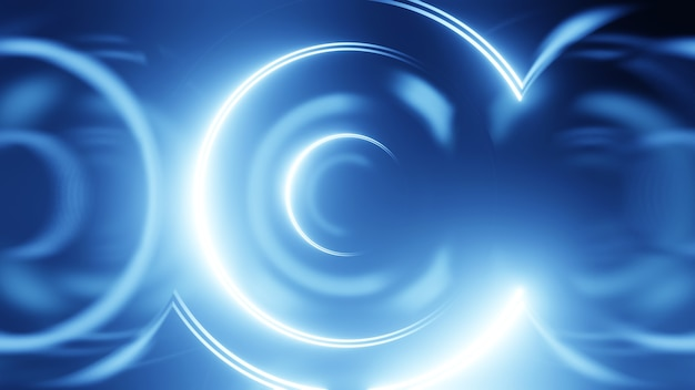 3d render círculo de néon. círculos de néon azul abstraem base de alta tecnologia futurista.