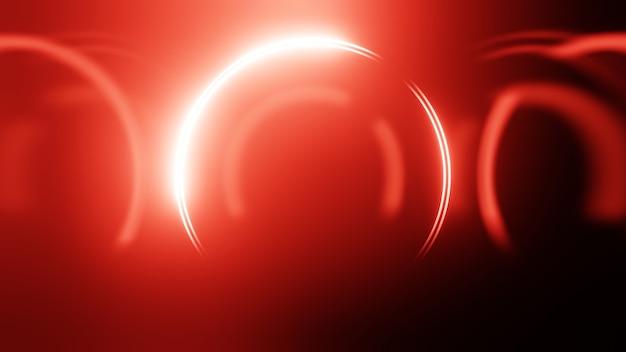 3d render círculo de néon. círculos de néon vermelho abstraem base de alta tecnologia futurista.