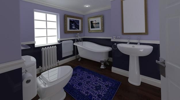3d, render, clássico, banheiro, interior