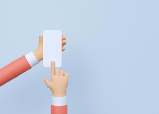 3d render closeup mão segurando um smartphone com uma tela vazia