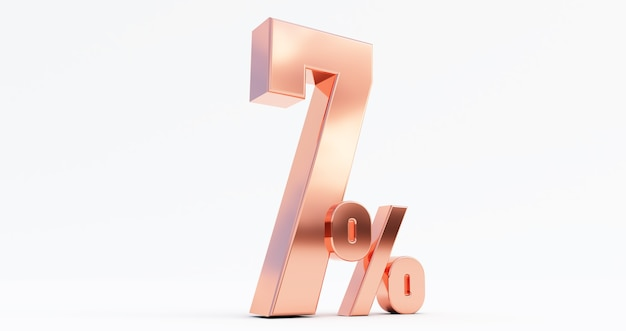 3d render com 7% de desconto, bronze 7% isolado em um fundo branco.