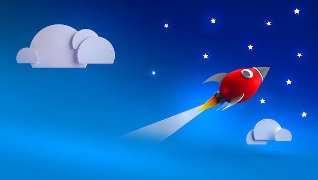 3d render com foguete vermelho no céu