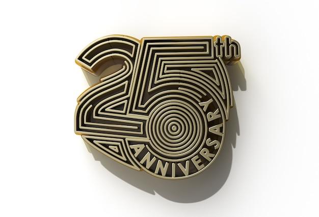 3d render comemoração do 25º aniversário - ferramenta caneta criada trajeto de grampeamento incluído no jpeg fácil de composto.