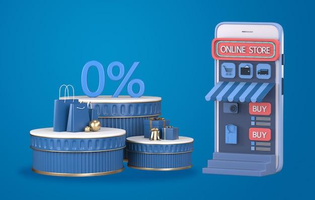 3d render compras on-line no site ou conceito de aplicativo móvel.