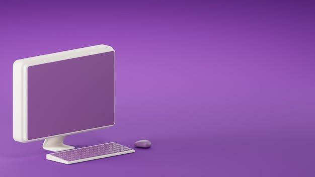 3d render computador roxo e teclado em fundo roxo