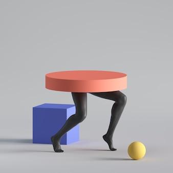 3d render, conceito abstrato de moda surreal, escultura engraçada de arte contemporânea. formas geométricas coloridas e pernas pretas de modelo humano.