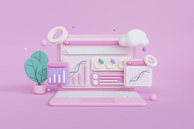 3d render conceito computador laptop análise de seo com estatísticas