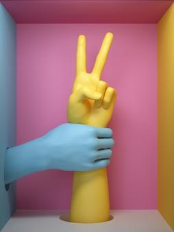 3d render, conceito de protesto feminista, gesto de sinal de vitória da mão feminina, partes do corpo do manequim isoladas no fundo rosa, dentro da caixa quadrada.