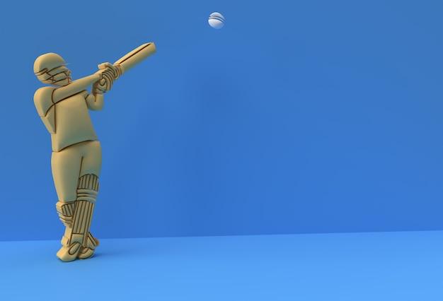 3d render concept of batsman playing cricket - scene for display championship trophy cup, arte 3d design poster illustration.