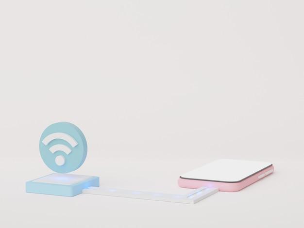 3d render conexão de rede sem fio para rede on-line do dispositivo com internet de alta velocidade