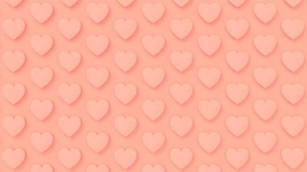 3d render corações rosa dia dos namorados