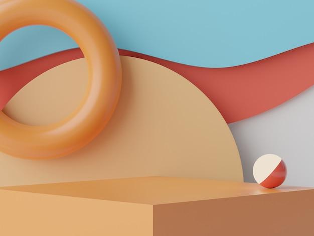 3d render cores de verão mínimo pódio para simulação e exibição de produtos
