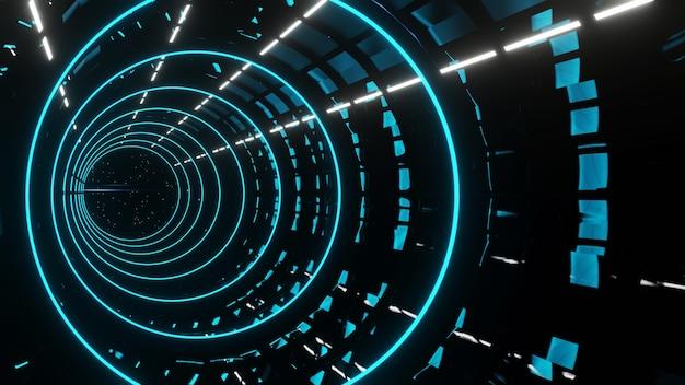 3d render corredor azul futurista abstrato com fundo de luzes de néon
