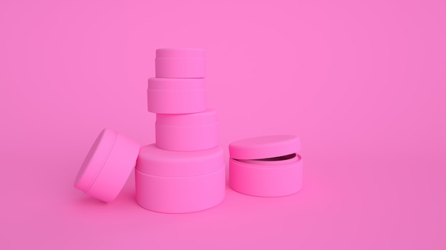 3d render cosméticos rosa produto