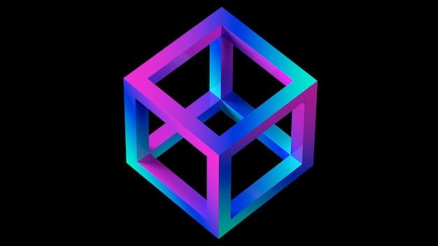 3d render cubo gradiente no espaço wireframe cor preto fundo forma geométrica
