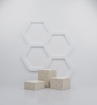 3d render cubo mármore pódio coleção ilustração abstrata de fundo com fundo de favo de mel