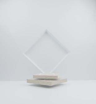 3d render cubo voador mármore pódio coleção ilustração de fundo abstrato