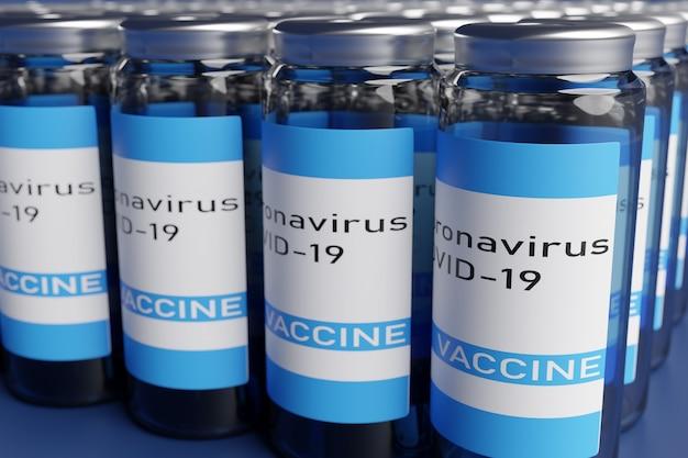 3d render da ampola com vacina covid-19 em fundo cinza. conceito de tratamento de coronovírus
